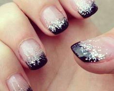 Black and Silver Nails. black tips, silver glitter fade. Simple Nail Art Designs, Easy Nail Art, Nail Designs, Nail Manicure, Diy Nails, Nail Polish, Love Nails, Pretty Nails, Do It Yourself Nails