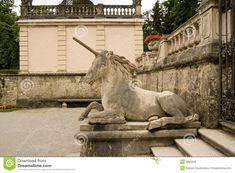 Salzburg statue Unicorn Mirabell Garden of Austria.