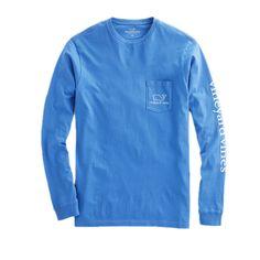 Vineyard Vines Long-Sleeve Vintage Whale Graphic Pocket T-Shirt in Marine