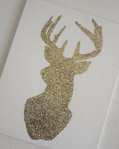 Gold/Silver glitter deer canvas silhouette. by BartonTreasures