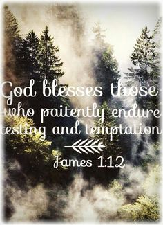 God blesses those who paitently endure testing and temptation. -James 1:12