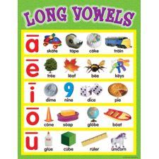 Teacher Created Resources Long Vowels Chart, Multi Color Convenient, useful learning tools that decorate as they educate! Phonics Reading, Teaching Reading, Kindergarten Activities, Learning Activities, Preschool, Montessori Activities, Toddler Activities, Teaching Ideas, Teaching Vowels