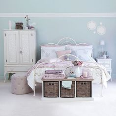 pale blue bedroom / vintage styling-beautiful for Molly's room! Lace Bedroom, Pastel Bedroom, Bedroom Vintage, Dream Bedroom, Girls Bedroom, Trendy Bedroom, Bedroom Color Schemes, Bedroom Themes, Bedroom Colors