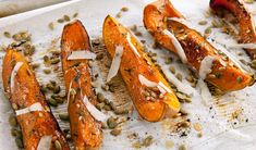 Roasted Butternut Squash with Pecorino and the all-natural mood booster: Pumpkin Seeds Roasted Vegetable Salad, Potato Vegetable, Vegetable Sides, Roasted Vegetables, Veggies, Cut Butternut Squash, Cheese Pumpkin, Holiday Recipes, Holiday Meals