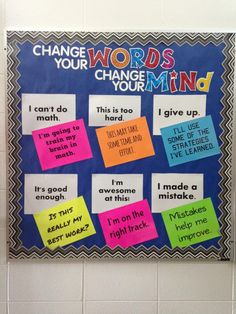 Change your Words, Change your Mind bulletin board is a great classroom display that can be referred to time and again. The board could also be redone for growth mindset and fixed mindset phrases and placed in a teacher work area. Classroom Bulletin Boards, Classroom Displays, School Classroom, Classroom Organization, Classroom Management, Classroom Ideas, Counseling Bulletin Boards, Preschool Bulletin, Library Displays