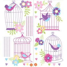 "Perch these beautiful bird decals in and out of their pretty birdcages for an enchanted wall decor idea! With a precious pink and purple palette, and sweet hearts and flower decals, the Chirping the Day Away vintage birdcage scene is truly darling. This wall art kit contains 27 pieces on two 17.25"" x 39"" sheets. WallPops peel and stick for simple repositioning and removability. They are safe for walls, leave no sticky residue and go on quick and easy."