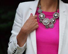 Hot pink, clean white blazer, statement necklace--love!