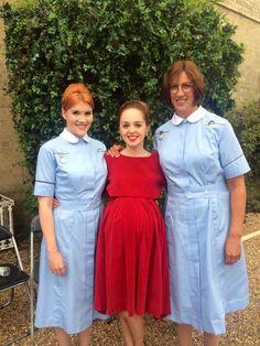 On the Call The Midwife set: Emerald Fennell, Louisa Connolly-Burnham, Miranda Hart