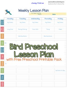 Bird Preschool Lesson Plan - http://www.yearroundhomeschooling.com/bird-free-preschool-printable-worksheets/
