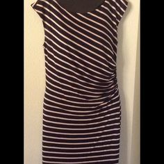 Loft ruched dress Black with blush stripes...side ruche....fully lined...capped sleeve.....machine washable...fits sizes 4 to 6 LOFT Dresses