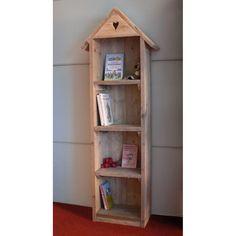 Boekenkastje in steigerhout voor de kinderkamer van muramura.nl