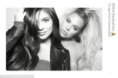 """Pout it out: Moms-to-be Khloe Kardashian, 33, and her half-sister Kylie Jenner, 20, posed together in a photo booth at """"momager"""" Kris Jenner's Christmas Eve party on Sunday evening"""