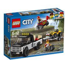 LEGO City ATV raceteam 60148  Deze LEGO ATV raceteamspeelset bevat een pick-uptruck en aanhanger met verstelbare hellingbanen twee quads en twee minifiguren. LEGO-nr. 60148  EUR 17.00  Meer informatie