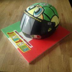 Valentino Rossi Moto GP Helmet Cake complete with Italy Italia board :) Buttercream Filling, Chocolate Buttercream, Vale Rossi, 50th Cake, Edible Printing, Valentino Rossi 46, Vanilla Sponge, Chocolate Sponge, Themed Birthday Cakes
