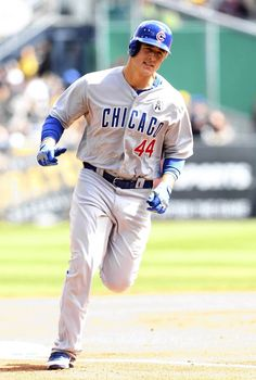 Cubs first baseman Anthony Rizzo rounds the bases after hitting a two run homer. 4/1/13