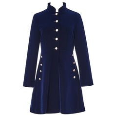 Navy A-line Buttoned Long Sleeve Mini Dress ($20) ❤ liked on Polyvore featuring dresses, long-sleeve mini dress, blue dress, a line dress, mini dress and long sleeve short dress
