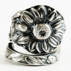 Silver Sunflower Ring, Flower Spoon Ring Sterling Silver, Floral Ring, Nature Inspired Engagement Ring, Eco Friendly Ring, Custom Ring Size