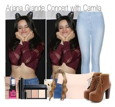"""""""Ariana Grande Concert with Camila"""" by dino-girl-975 ❤ liked on Polyvore featuring Topshop, Miss Selfridge, Miss Dora, Too Faced Cosmetics, Juicy Couture, Shiseido, NARS Cosmetics and Giorgio Armani"""