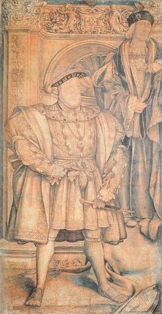 Cartoon of Henry VIII and his father Henry VII, was used for the basis for the Whitehall Palace Mural by Hans Holbein, 1537