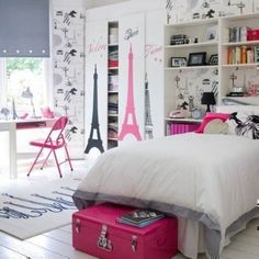modern teenage bedroom ideas for small rooms cool modern teen girls bedroom ideas small bedroom design ideas french chic theme Bedroom Decor For Paris Rooms, Paris Bedroom, Parisian Room, Teenage Girl Bedroom Designs, Teenage Girl Bedrooms, Tween Girls, Teen Rooms, Kids Rooms, Youth Rooms