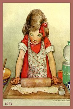 Olde America Antiques | Quilt Blocks | National Parks | Bozeman Montana : Jessie Willcox Smith - Girl Rolling Dough