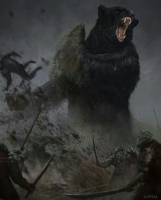 In that last hour Beorn appeared. He came alone and in bear's shape, and he seemed to have grown almost to giant-size in his wrath. The roar of his voice was like drums and guns, and he tossed wolves and goblins from his path like straws and feathers. He fell upon their rear and broke like a clap of thunder through the ring.