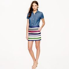 J. Crew Multistripe Mini Skirt BLOGGER FAVORITE! This super cute J. Crew skirt is popular with all the fashion bloggers and sold out in record time. Like all J. Crew pieces, this is comfortable, chic and can be dressed up or down. Worn once. Inside tag with size has been removed (it was itchy!) but the care instruction tag is still inside and confirms this is authentic J. Crew. J. Crew Skirts Mini