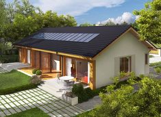 Eryk G1 (30 stopni) - zdjęcie 3 Village House Design, Bungalow House Design, Village Houses, Small House Design, Future House, My House, Tiny Guest House, Cabin House Plans, Weekend House