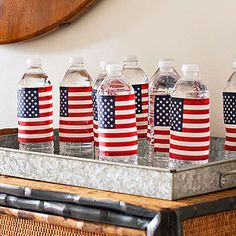 4th of July Water Bottles | Wrap flags around and there you go!