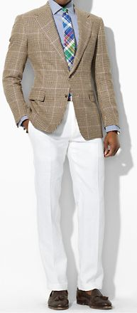 love this jacket, the white pants and the tassel loafers. perfect.