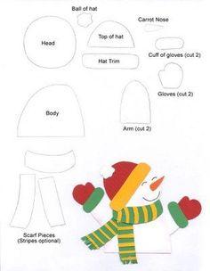 Boneco de neve com molde Felt Christmas Decorations, Felt Christmas Ornaments, Christmas Colors, Christmas Snowman, Kids Christmas, Christmas Applique, Christmas Sewing, Applique Templates, Applique Patterns