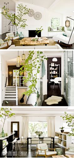 //slanted, vaulted wall ceiling; white living room, fireplace, dining entrance