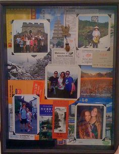 Collage shadowbox - events and items as background - layered effect