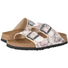 Birkenstock Arizona (Silky Rose Pink Birko-Flor   ) Women's Dress Sandals featuring polyvore, women's fashion, shoes, sandals, pink evening shoes, narrow shoes, birkenstock sandals, dress sandals and pink dress sandals