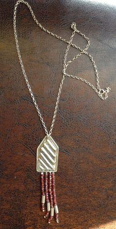 Necklace-Silver garnet stone handmade