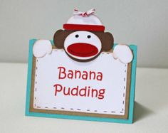 free sock monkey place card printables   Sock monkey Food Labels - Birthday or Baby shower, set of 6, standing ...