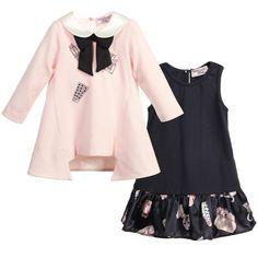 Monnalisa Bebe - Baby Girls Pink & Navy Blue 2 Piece Dress | Childrensalon