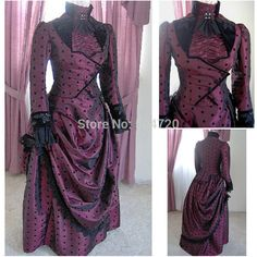Década de 1860 traje de la vendimia gótica victoriana del siglo vestido victoriano Lolita / Vestidos Guerra Civil Southern Belle Bola de Halloween Todo el tamaño(China (Mainland))