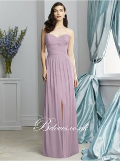 Suede Rose Sweetheart Draped Bodice Long Bridesmaid Gown With Slit - Bridesmaid Dresses - Beloves