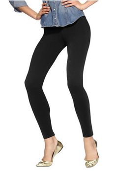 HUE Cotton Leggings U2243 in Black, Size XS