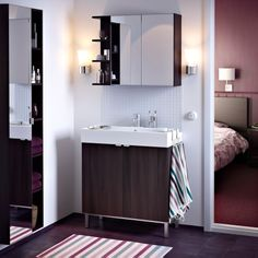 LILLÅNGEN mirror cabinet, end unit and wash-basin cabinet with two doors all in black-brown