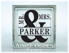 Glass Block Decal Sticker DIY for Kraftyblok / Tile / Mirror / Frame / Shadow Box with Mr. and Mrs. and Family Name