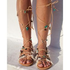 RiRiPoM Tie Up Gladiator Leather Sandals Boho Chic (€139) found on Polyvore