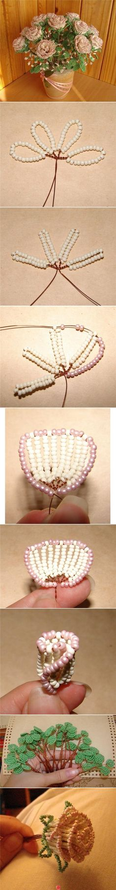 DIY Bead Roses Bouquet flowers diy crafts home made easy crafts craft idea crafts ideas diy ideas diy crafts diy idea do it yourself diy projects diy roses Beading Projects, Beading Tutorials, Beading Patterns, Diy Projects, Free Tutorials, Craft Tutorials, Flower Crafts, Diy Flowers, Fabric Flowers