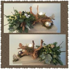 Kerststuk Christmas Gifts To Make, Christmas Home, Christmas Wreaths, Christmas Crafts, Xmas, Rustic Centerpieces, Christmas Centerpieces, Christmas Decorations, Art Floral Noel