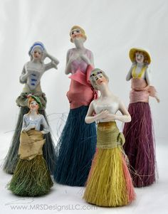 Vintage Half Dolls with Broom Bottoms, the half dolls were used in many ways. This is one.