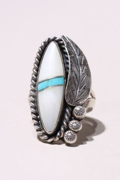 Vintage dead pawn sterling silver Navajo ring size 6 - Native American Jewelry http://thriftedandmodern.com/navajo-stone-ring-6
