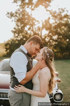 Wedding photo in front of vintage burgundy car, car photography ideas