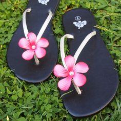 luau pink hawaiian flip flops