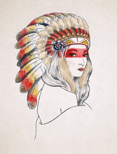 Girl with Native American War Bonnet by InspirationNeverEnds, $25.00
